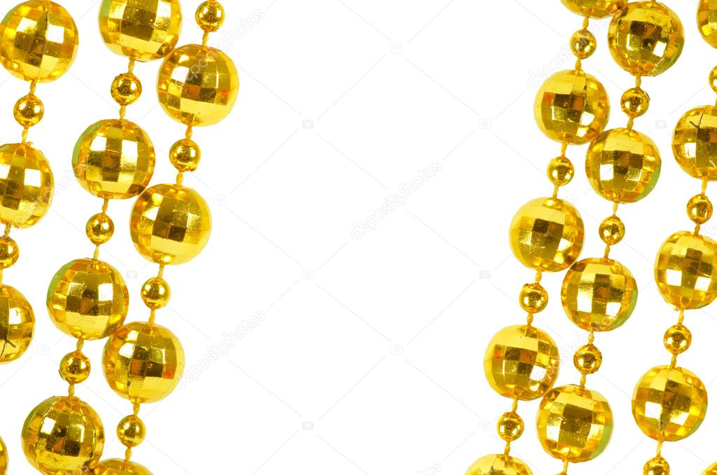 Background made of a brilliant celebratory beads of golden color  Stock Photo #13145424