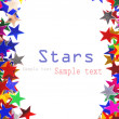 Star shaped confetti of different colors frame - Stock fotografie