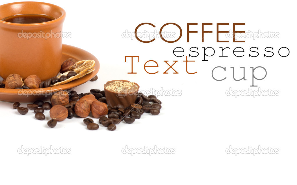 Cup of coffee with ingredients on a white background — Stock Photo #13284698