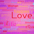 Seamless pattern made from words which relate with word love - Stockfoto