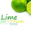 Fresh ripe lime. Isolated on white background - Stock Photo