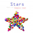 Big star composed of many colored stars on white - Stockfoto