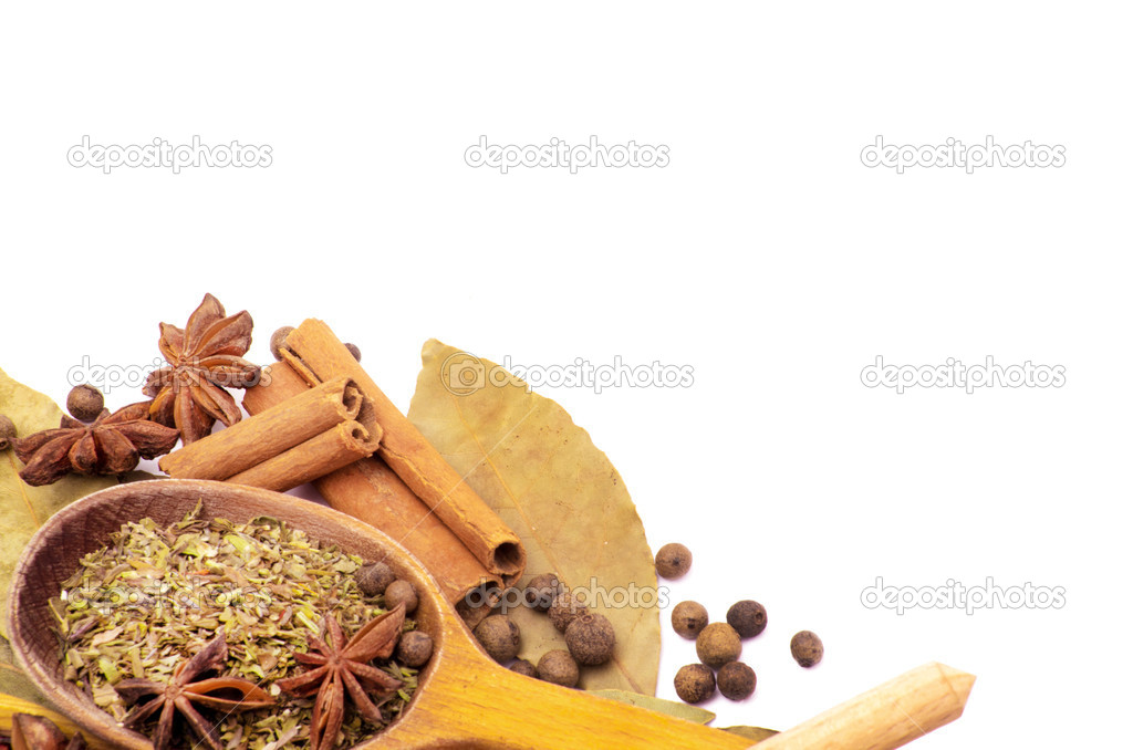 Spices border isolated on white  Stock Photo #13846703