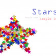 Big star composed of many colored stars on white - Stock Photo