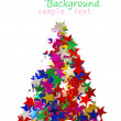 Christmas tree composed of colored stars. - Zdjęcie stockowe