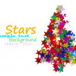 Christmas tree composed of colored stars. - Stock Photo