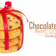 Chocolate chips cookies with red ribbon - Stockfoto