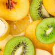 Sliced fruits background - Stockfoto