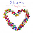 Royalty-Free Stock Photo: Big heart composed of many colored stars on white