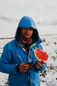 Watermeloen en sneeuw — Stockfoto