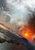 Planeta alienígena con cielo místico — Foto de Stock