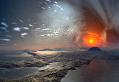Alien Planet with Mystic Sky — Stock Photo