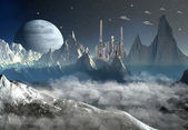 Alien Planet with a Moon — Stock Photo
