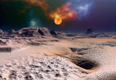 Alien Planet with a Sun — Stockfoto