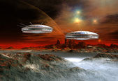 Fantasy Alien Planet With Spaceships — Stock Photo