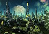 Moderna ciudad extraterrestre — Foto de Stock