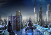 Modern Alien City Skyline — Stock Photo
