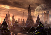 Modern Alien City Skyline — Stock Photo