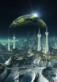 Planète extraterrestre, oeuvre de l'ordinateur — Photo