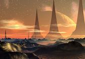 エイリアンの惑星は、コンピューターのアートワーク — ストック写真