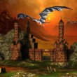 Fantasy Castle And Dragons - Computer Artwork - Foto Stock