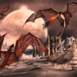 Fantasy Scene With Dragons - Computer Artwork - Stock Photo