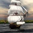 Sailing Ship - Computer Artwork — Stock Photo