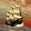 Sailing Ship - Computer Artwork — Stock Photo #19097039