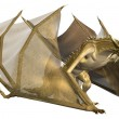 Yellow Fantasy Dragon - Computer Artwork - Stock Photo