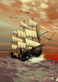 Sailing Ship - Computer Artwork — Stock Photo