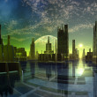 Futuristic Alien City - Computer Artwork - Stok fotoraf