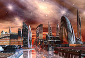 Futuristic Alien City - Computer Artwork — Stock Photo