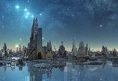 Futuristic Alien City - Computer Artwork — Stock Photo