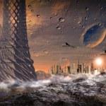 Alien Planet With Alien Town — Stock Photo