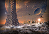 Alien Planet With Alien Town — Stock Photo