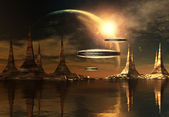 Alien Planet With Spaceships — Stock Photo