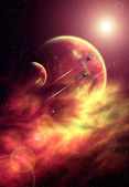 Background with Stars, Nebula, Planets and Spaceships — Stock Photo