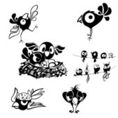 černobílé dekorativní pták — Stock vektor