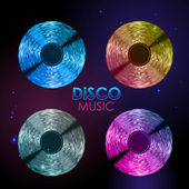 Disco abstract background. Set of records — Stock Vector