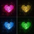 Disco abstract  background. Set of hearts — Stok Vektör