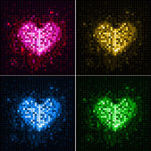 Disco abstract background. Set of hearts — Stock Vector