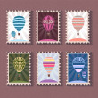 Set of vintage stamp with balloon — Stock Vector