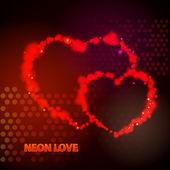 Valentines day. Neon love — Stock Vector