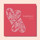 Inbjudningskort med hjärtan — Stockvektor