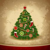 Christmas tree. Vintage background — Stok Vektör