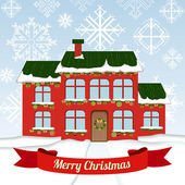 Christmas card with house — Vector de stock