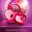 Valentine disco poster with hearts — Stock Vector