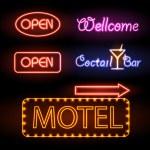 Set of neon sign — Stock Vector