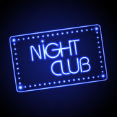 Neon sign. Night club — Stock Vector