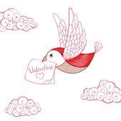 Vogel met Valentijn kaart. uitnodiging — Stockvector